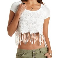 Chunky Lace Crochet Crop Top by Charlotte Russe