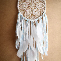 Dream Catcher - Blue Flowers - Unique Dream Catcher with White Handmade Crochet Web and White Feathers - Mobile, Home Decor, Decoration