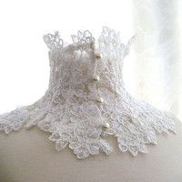 LACE NECK COLLAR macramè white/ivory lace victorian edwardian elegant with buttons made in italy