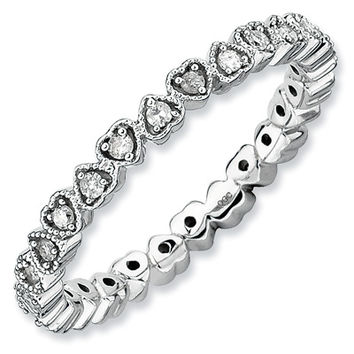 Stackable Expressions™ Diamond Accent Alternating Hearts Ring in Sterling Silver