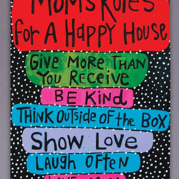Mom's Rules For A Happy House Art Canvas by jules321 on Etsy