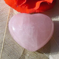 Rose Quartz Solid Gemstone Puffy Heart - 35mm