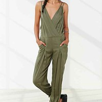 Silence + Noise Double-Strap Surplice Jumpsuit- Green