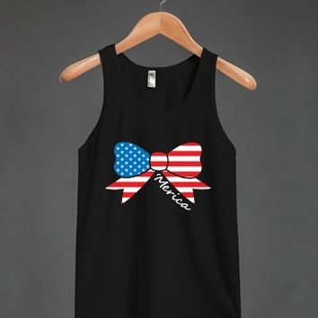 America Fourth of July Bow Tank Top-BLK