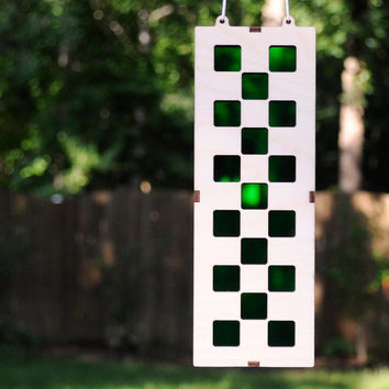 Checkers Suncatcher in Wood and Vivid Green Acrylic fitting Rocker and All Styles