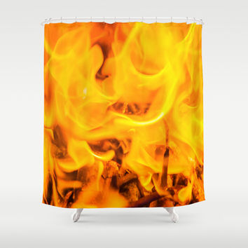 Fire and flames Shower Curtain by Digital2real