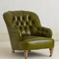 Leather Corrigan Chair by Anthropologie Green One Size Furniture