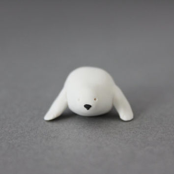 seal figurine polymer clay white seal miniature totem