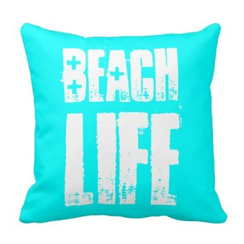 Beach Life Turquoise and White Pillow