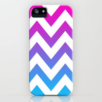 PINK & TEAL CHEVRON FADE iPhone Case by nataliesales | Society6