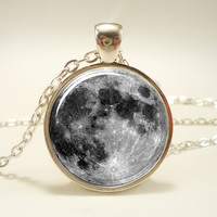 Full Moon Necklace Glass Photo Necklace Silver Plate by rainnua