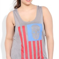 Plus Size Racerback Tank Top with Captain America Flag Screen