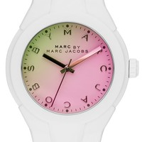 Women's MARC BY MARC JACOBS 'X-Up' Round Silicone Strap Watch, 38mm - White