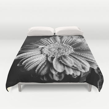 Gerbera black and white Duvet Cover by VanessaGF