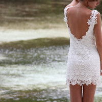 Mini lace dress 'Kisses' by NelliUzun on Etsy