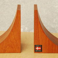 Danish Modern Solid Teak Sculpted Bookends