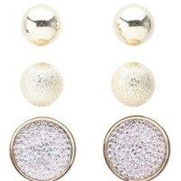 Pale Peach Ball & Pave Stud Earrings - 3 Pack by Charlotte Russe