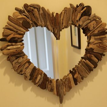 Driftwood Sea Heart Mirror by MaderaDelMar on Etsy