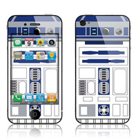Apple iPhone 4 4S Skin Cover   R2D2 Glossy Matte by skunkwraps