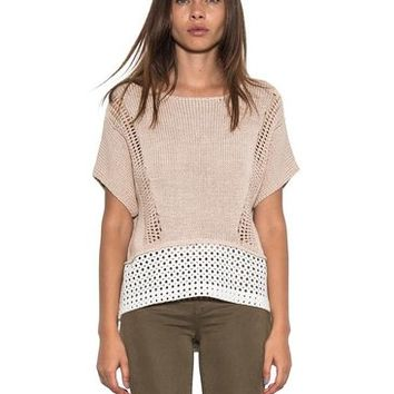Women Tory Short Sleeve Knit Pullover Tan White Spring Sweater One Grey Day