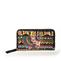 SAKROOTS ARTISTIC CIRCLE LARGE WALLET IN NEON ONE WORLD
