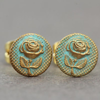 Rose Earrings : Patina Finished Flower Stud Earrings, Brass, Artisan Tree, Unique, Fake Plugs