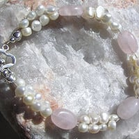 "Crystal Gemstone Bracelet - Rose Quartz & White Freshwater Pearl ""First Love"""