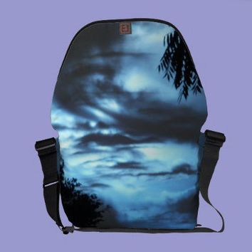 Blue Clouded Sky Rickshaw Messenger Bag from Zazzle.com