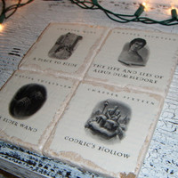 Harry Potter DEATHLY HALLOWS Coasters-stone coasters made w actual book pictures!
