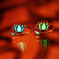 LOTUS Flower Sterling Silver Ring GLOW in the DARK