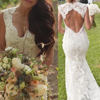 Custom made ivory backless  wedding gown low back wedding dress  bridal dress for lawn wedding  tulle skirt  mermaid 2014 new arrival