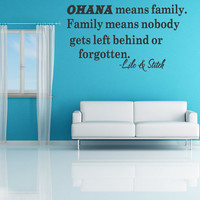 Ohana Means Family Lilo And Stitch Disney Quote Vinyl Wall Decal Decor Sticker Decor Sticker Quote Removable Letters (B83)