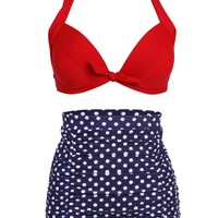 High Waist Retro Bikini Swimsuit Swimwear with Dark Blue Polka Dot Bottom and Red Top