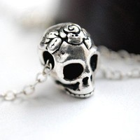 Sugar Skull Necklace Sterling Silver Pinup Day Of The Dead Dia De Los Muertos
