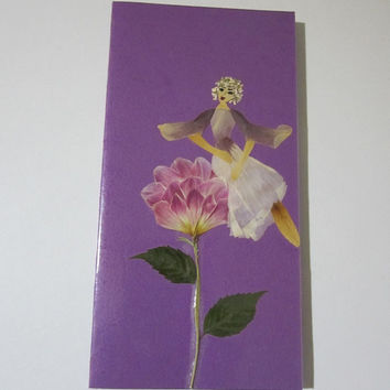 """Handmade unique greeting card """"It is important to have a good view"""" - Decorated with dried pressed flowers and herbs - Original art collage."""