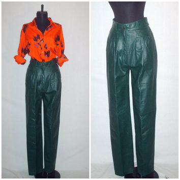 Vintage 1980s Green Leather Pants High Waist
