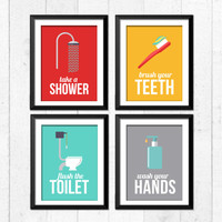 Retro bathroom Art Prints, Bathroom rules art prints, take a shower, wash your hands, flush the toilet,brush flush wash, home decor, A-4004
