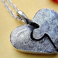 Fingerprint Puzzle Necklace Piece in Sterling by rockmyworldinc
