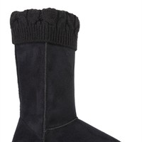 Tall Faux Suede Slipper Boot with Fold Over Sweater Cuff