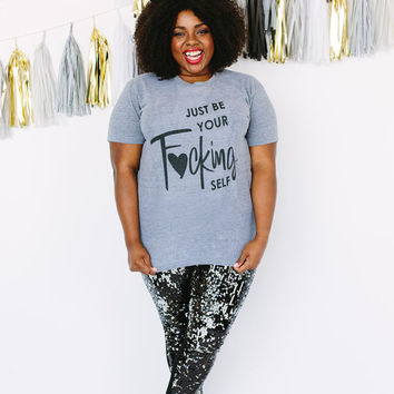 T-shirt  (Heather Grey)  Just be Your Self Track Shirt