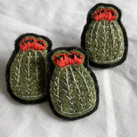 Hand Embroidered Barrel Cactus Pin