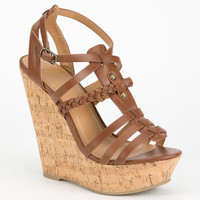 Delicious Spine Womens Gladiator Wedges Tan  In Sizes