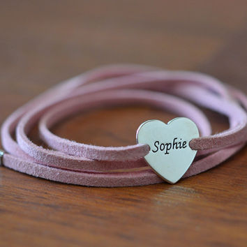 Suede Wrap Bracelet with a Personalized Disc by SincerelyMePJD