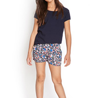 FOREVER 21 GIRLS Bright Floral Dolphin Shorts (Kids) Navy/Pink