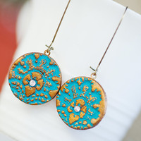 Pardes  Teal Wind Earrings Cold Clay Teal with gold by pardes