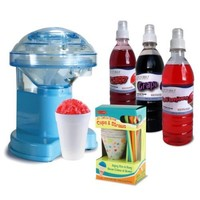 Victorio Snow Cone Gift Pack with Hand Crank Ice Shaver, 25-Cup/Straws