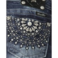 Miss Me Women's Medium Wash with Crystal Burst Open Pocket Boot Cut Jean