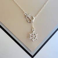 Silver Nautical Lariat Necklace with by ClassyJewelryByAlena