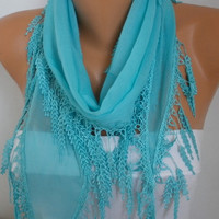 ON SALE - Turquoise Scarf Cotton Scarf Necklace Cowl with Lace Edge Gift for her