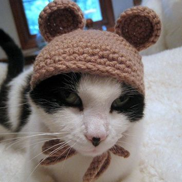 Pet Hat Bear Beanie Cat Hat Brown by Monarchdancer on Etsy